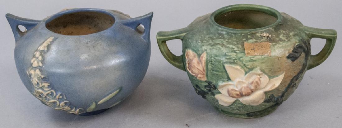 Two Roseville Art Pottery Vases w Handles / Urns