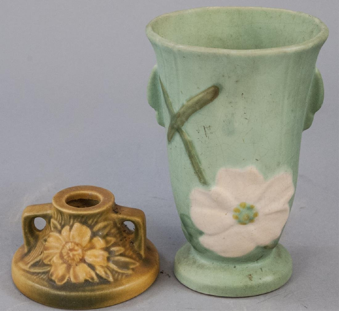 Roseville Art Pottery Candlestick w Vase