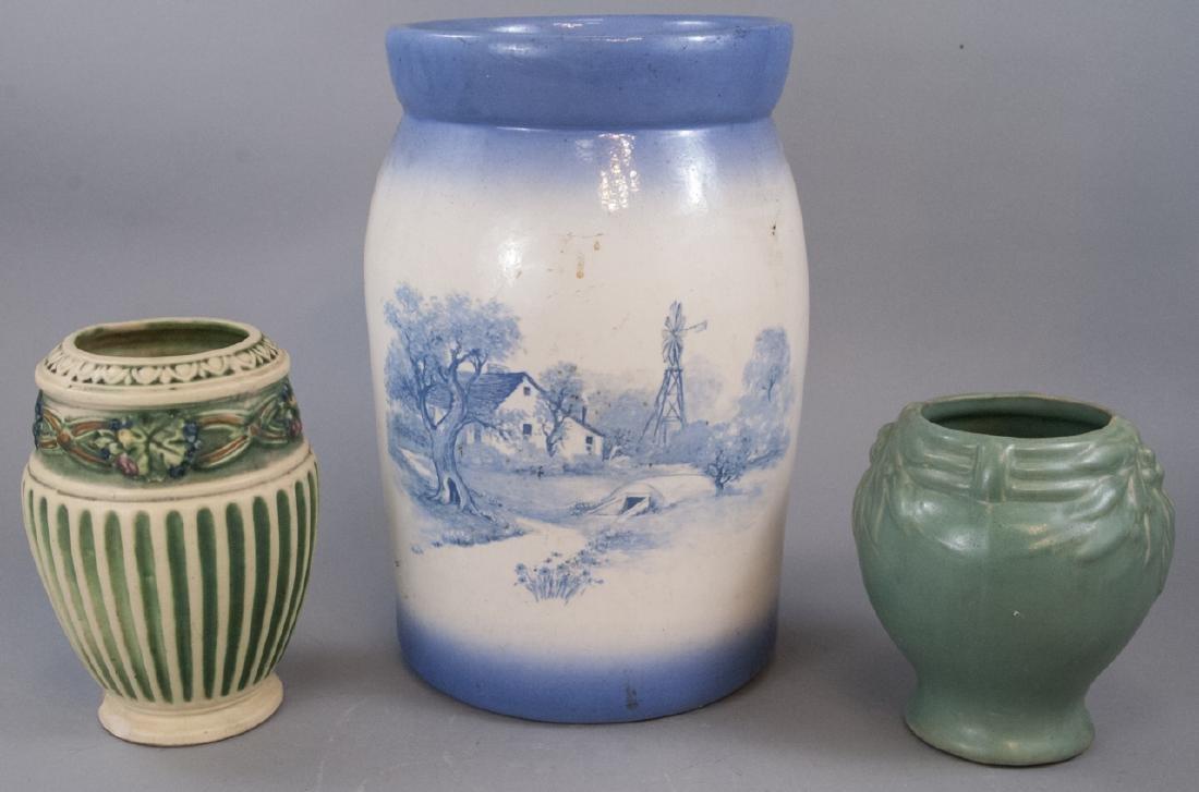Three Antique / Vintage Art Pottery Vases