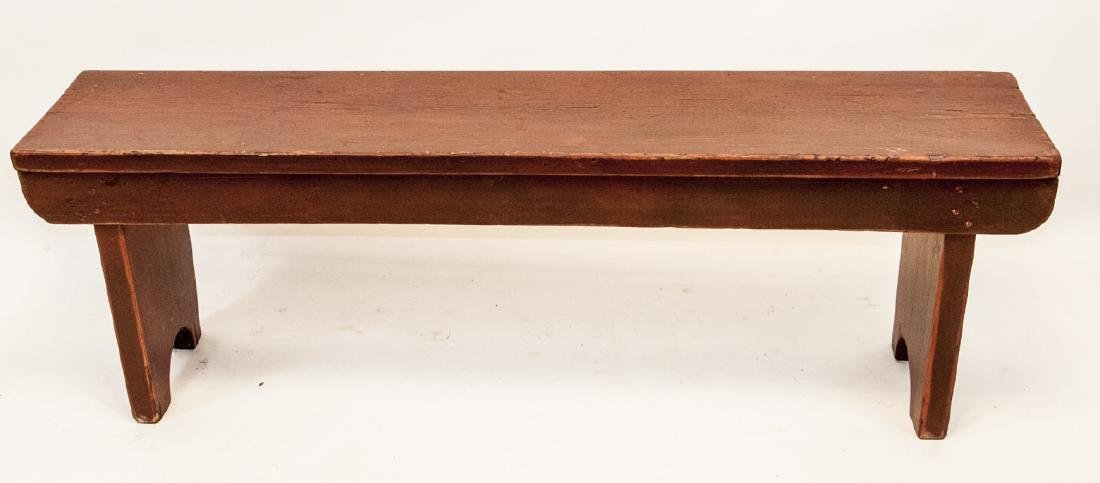 Antique American Red Painted Wooden Bench