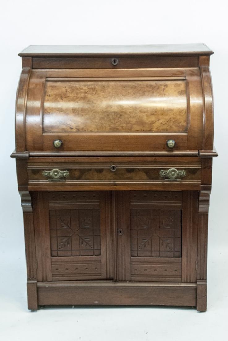 Antique 19th Century Victorian Roll Top Desk