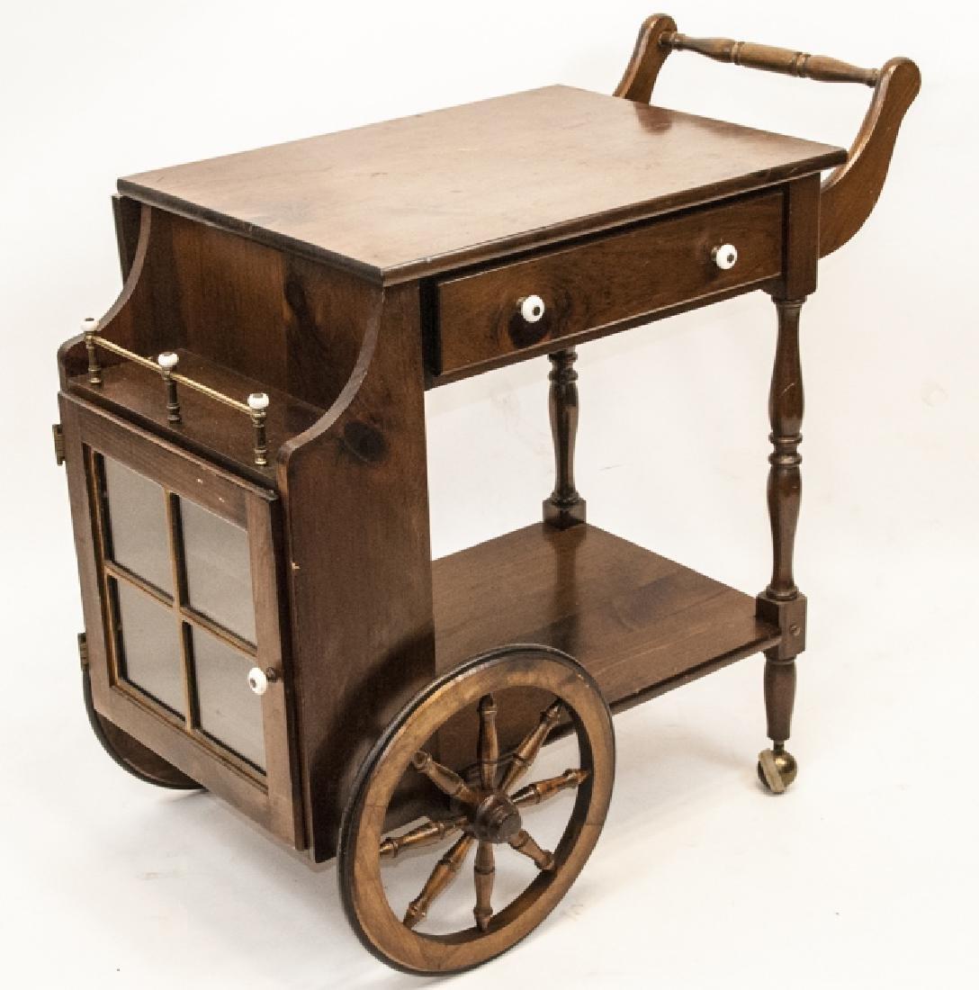 Antique Wooden Tea Cart W/ Drop Top Leafs