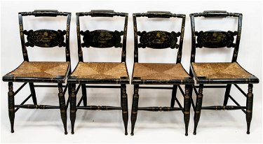 Swell 4 Antique Hitchcock Chairs W Rush Seats Machost Co Dining Chair Design Ideas Machostcouk