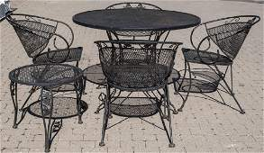 Vintage Wrought Iron Mesh Patio Table  4 Chairs