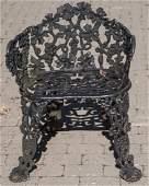 Vintage Cast Iron Garden Bench w Grape Motif
