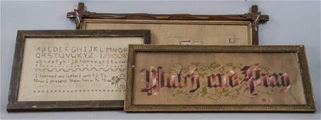 3 Victorian Needlepoint Paper Punch Motto Samplers