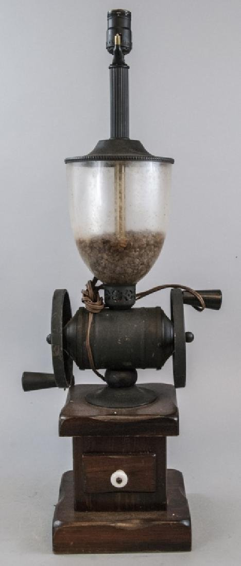 Vintage Ethan Allen Dark Wood Coffee Grinder Lamp