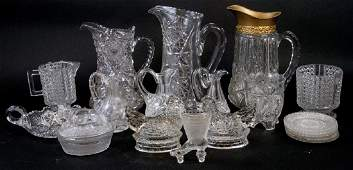 Assorted Lot Of Crystal  Cut Glass Kitchen Items