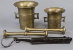 Antique Brass Mortar  Pestles and Brass Scale