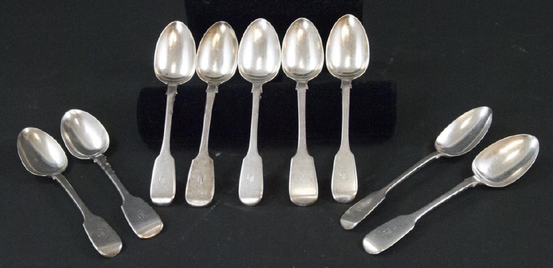 8 Antique Dublin Ireland Sterling Silver Spoons