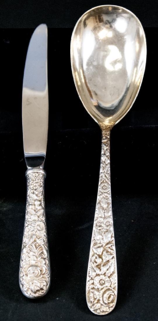 Kirk Sterling Silver Serving Spoon & One Knife