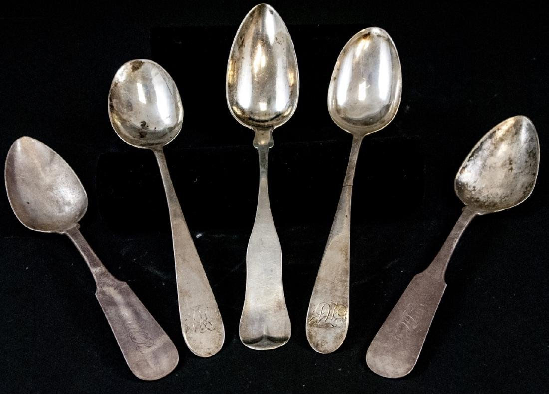 Five Antique 19th C Large Coin Silver Spoons