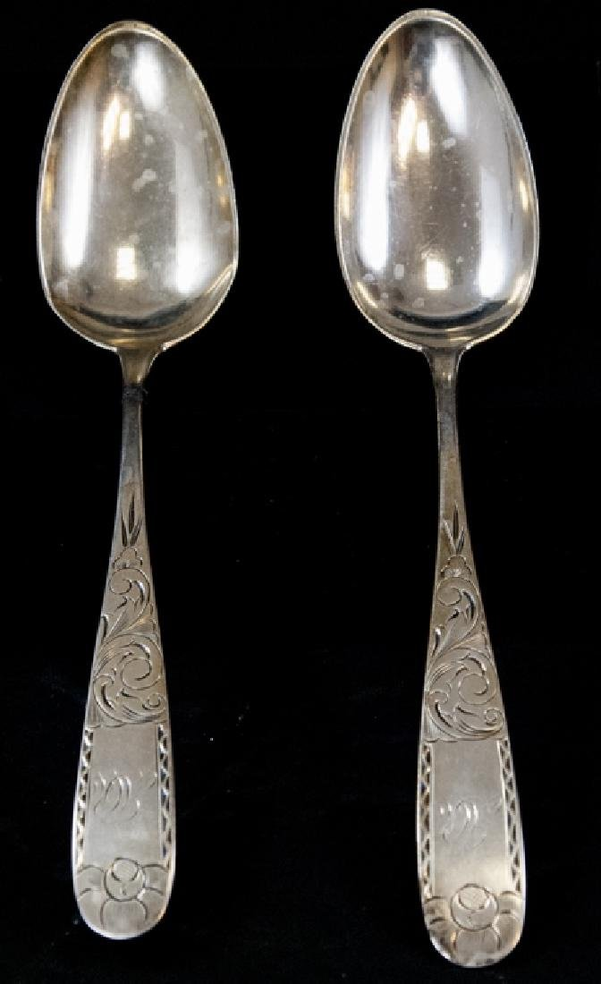 Pair Canfield Bro & Co Large 19th C Silver Spoons
