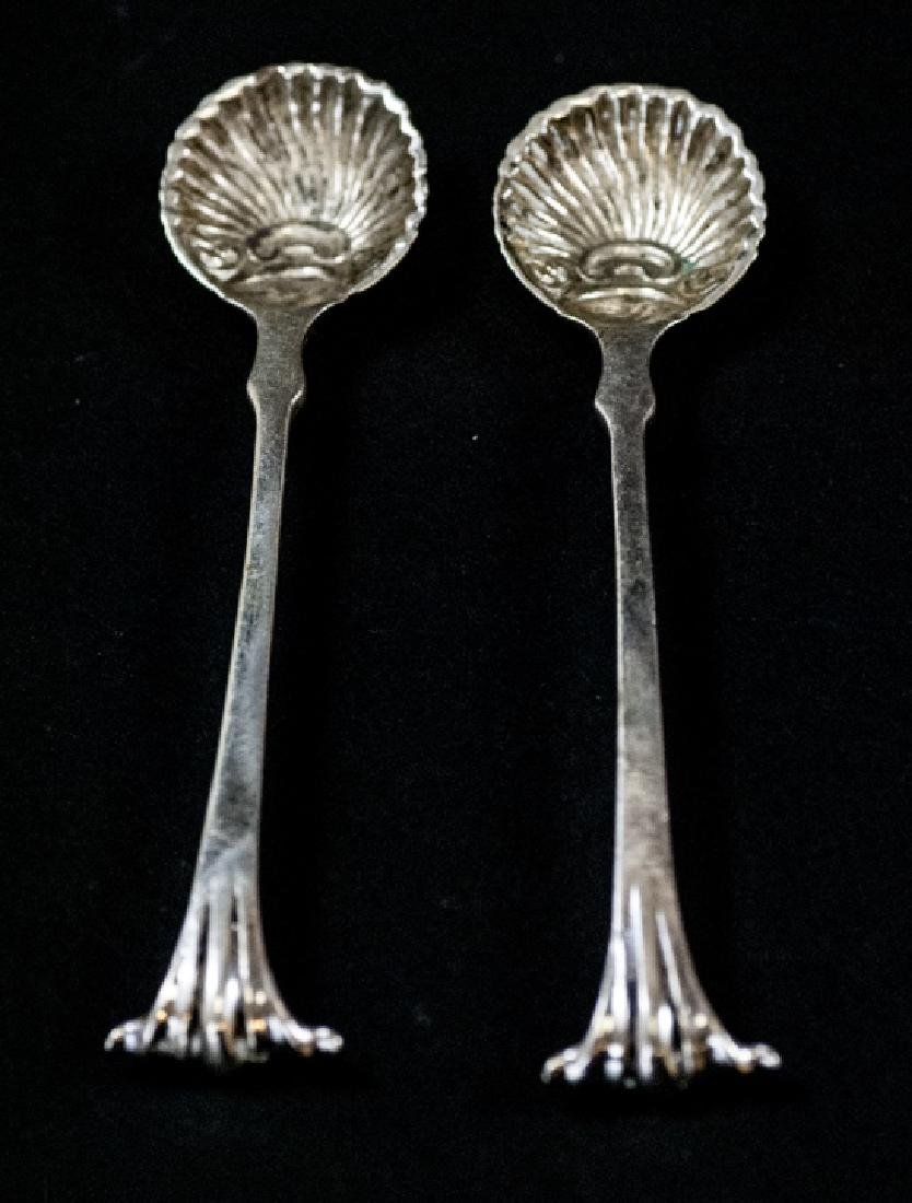 Pair of Antique Sterling Silver Salt Cellar Spoons