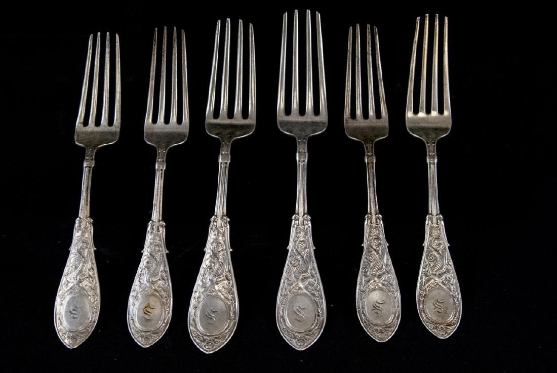 Six Antique J H Tyler & Co Sterling Silver Forks