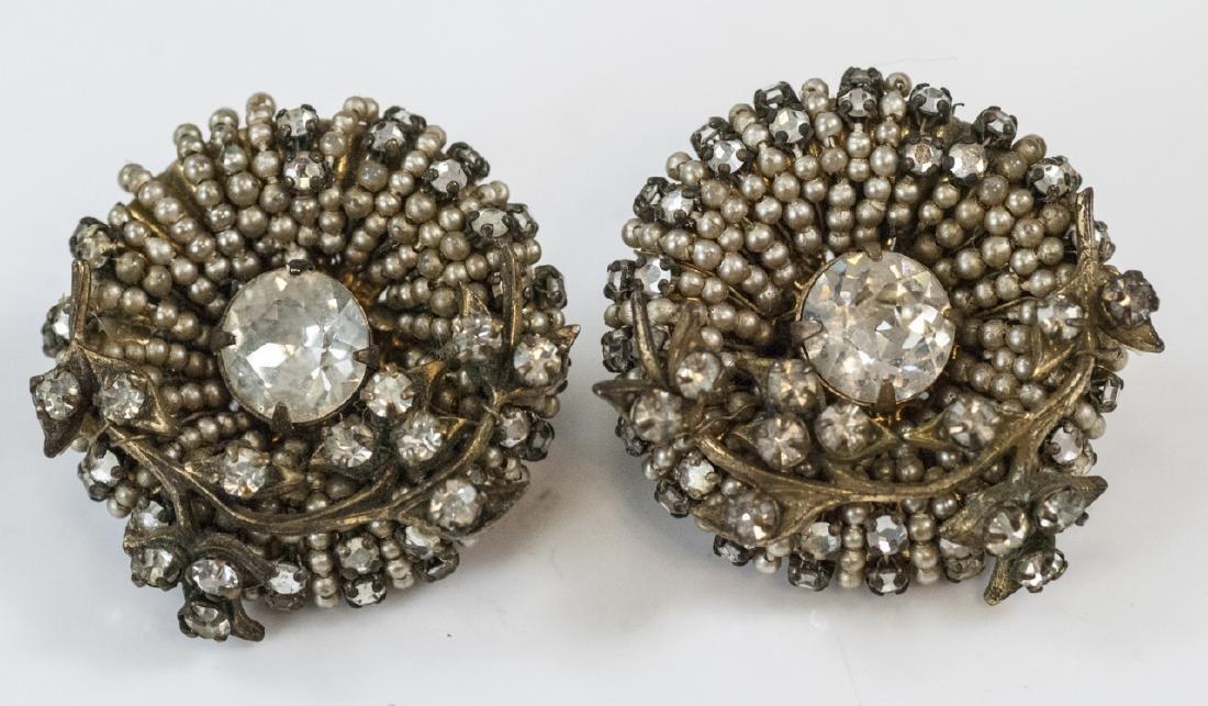 Pair Vintage Miriam Haskell Rhinestone Earrings
