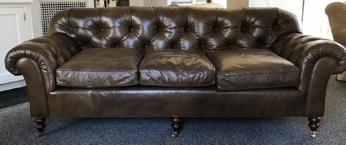 Contemporary Chesterfield Brown Leather Sofa