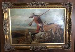 Large Antique Oil Painting  Hunting Scene w Dogs