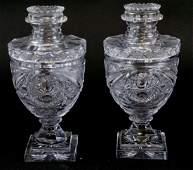 Antique 19th C Brilliant Cut Crystal Lidded Urns