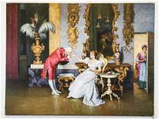Oil on Canvas Renaissance Man and Woman Signed