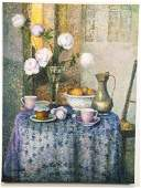 Oil on Canvas Tea Time Still Life Signed