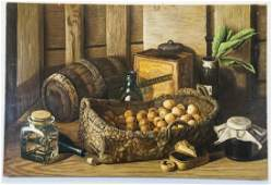 Oil on Canvas, Still Life with Basket of Walnuts