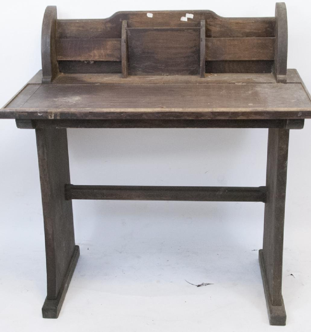 Vintage Rustic Writing Desk w Letter Compartments