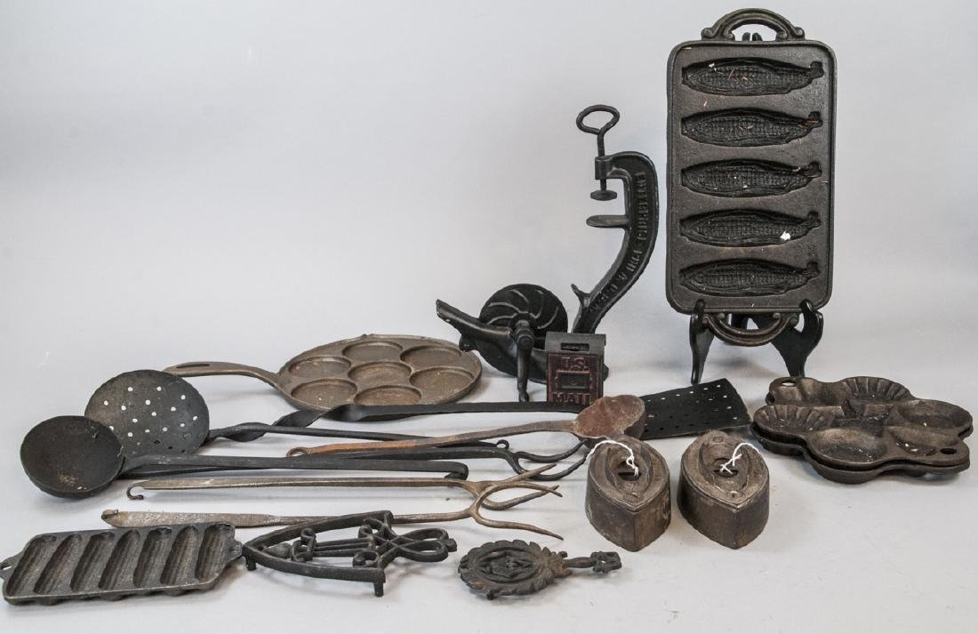 Lot Of Assorted Cast Iron Home & Kitchen Items