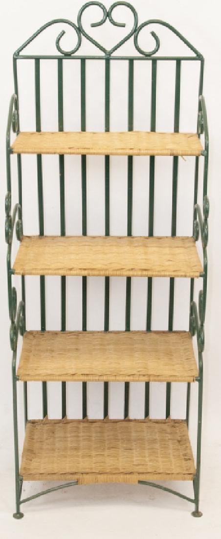 Vintage Iron & Wicker Baker's Rack