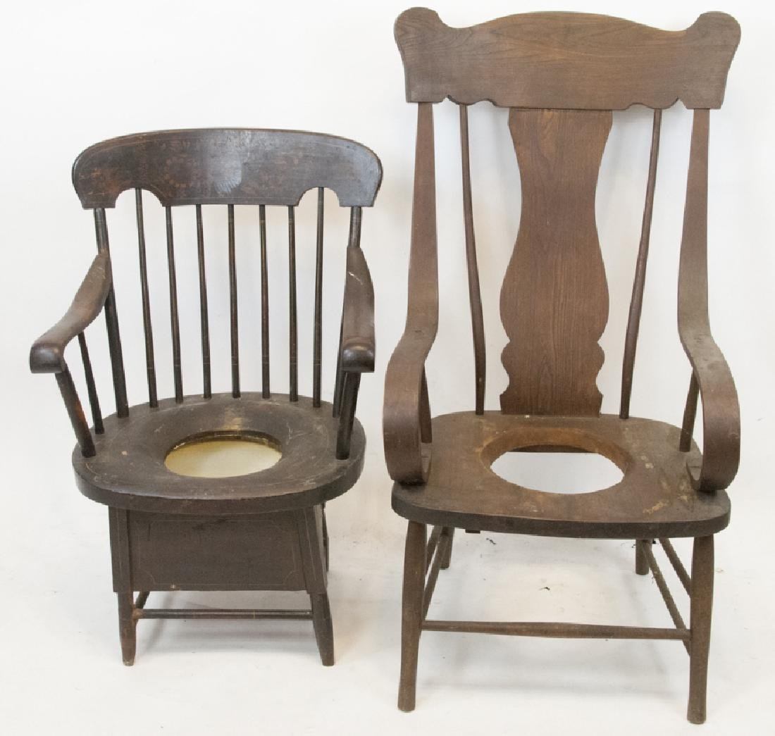 Vintage Hitchcock Style & Pine Chamber Pot Chairs