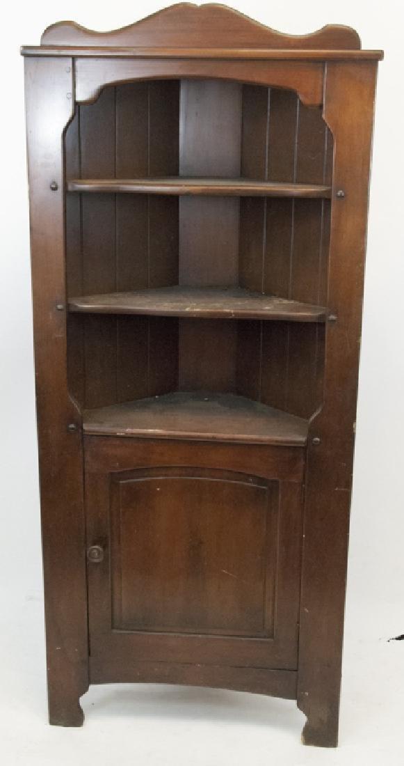 Vintage Maple Corner Kitchen Cabinet Display Rack
