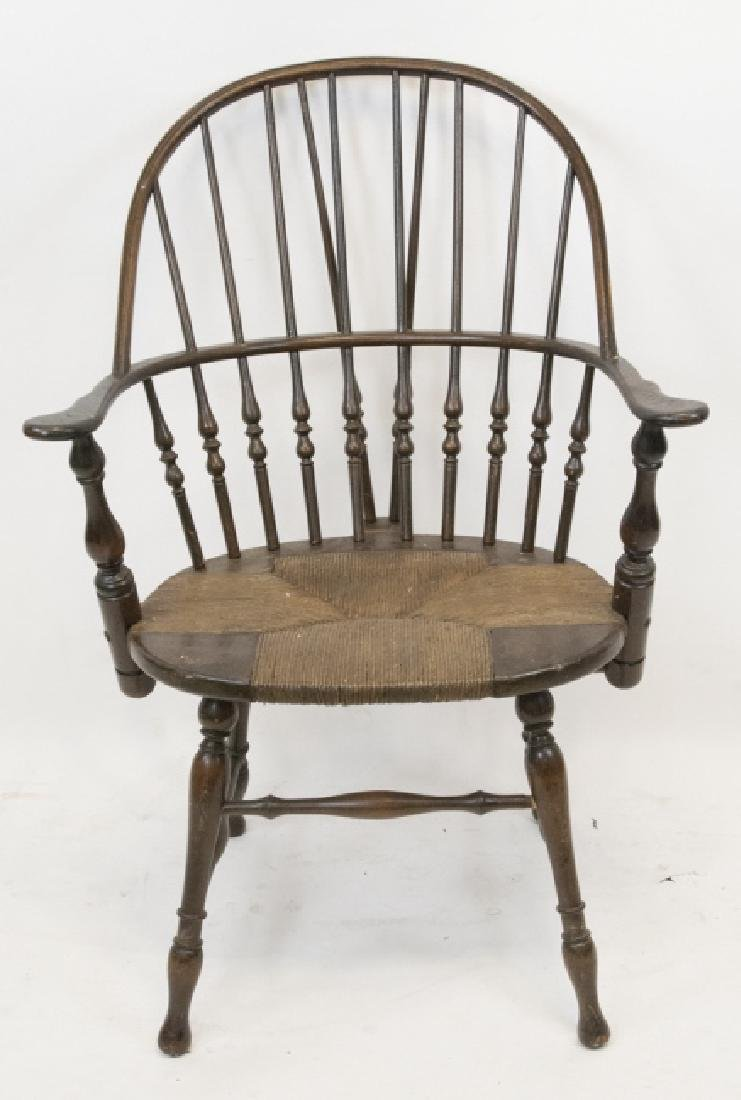 Antique Hitchcock Style Arm Chair Rush Seat