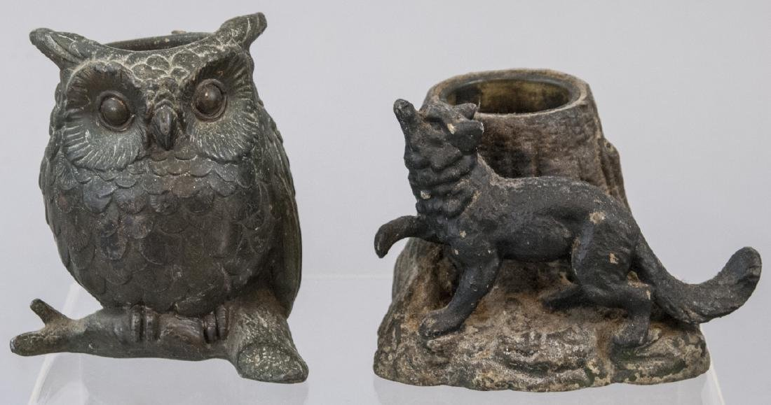 Two Cast Iron Animal Match Holder