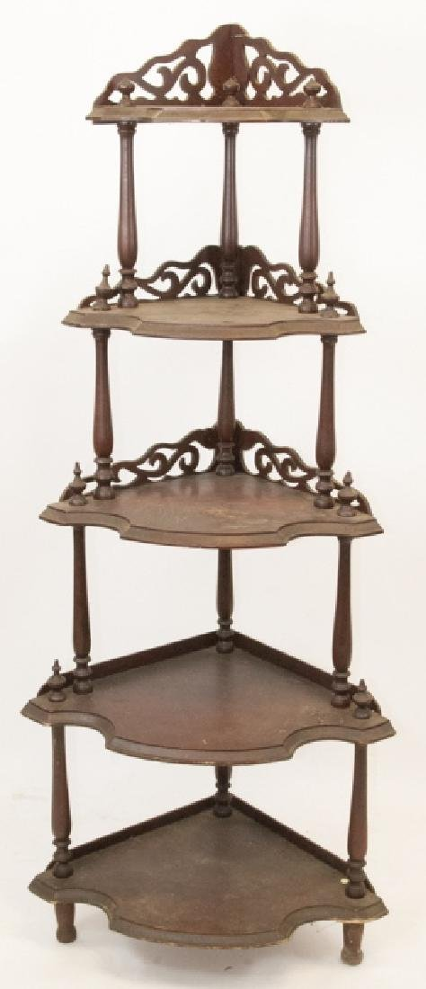 Antique Victorian Corner Etagere Hand Scroll Work