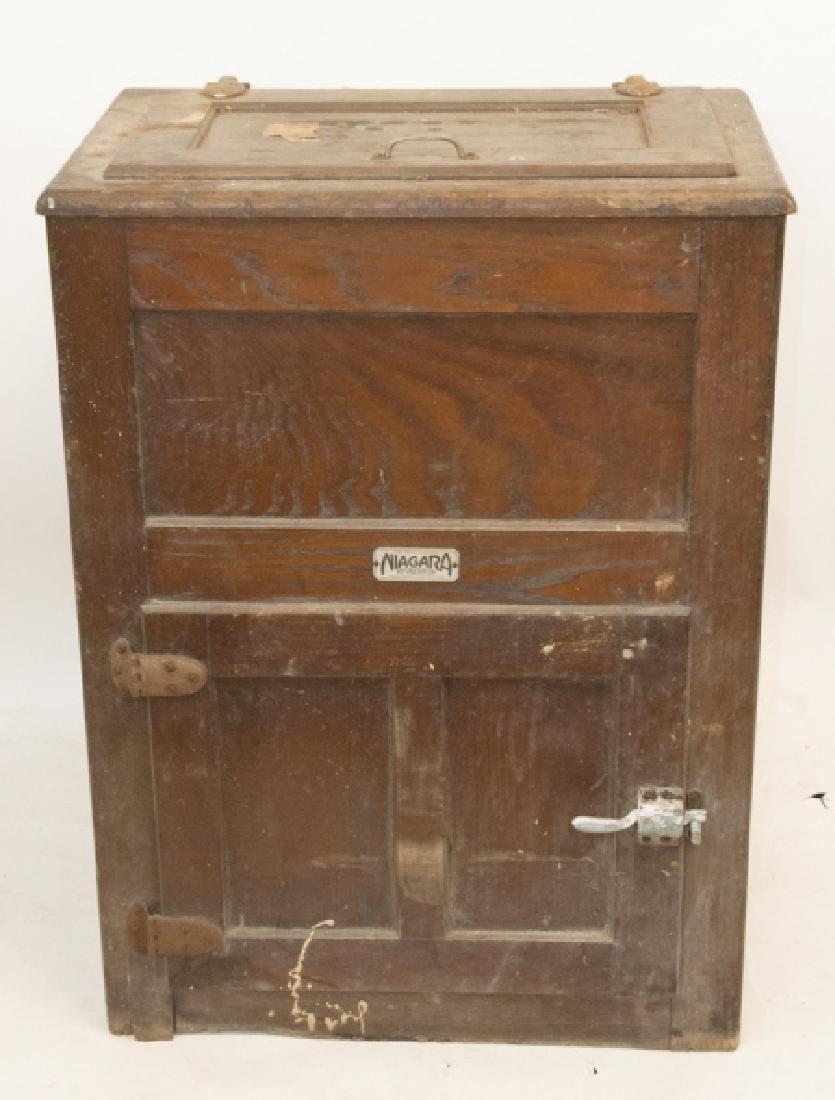 Antique Niagra Oak  Refrigerator / Ice Box