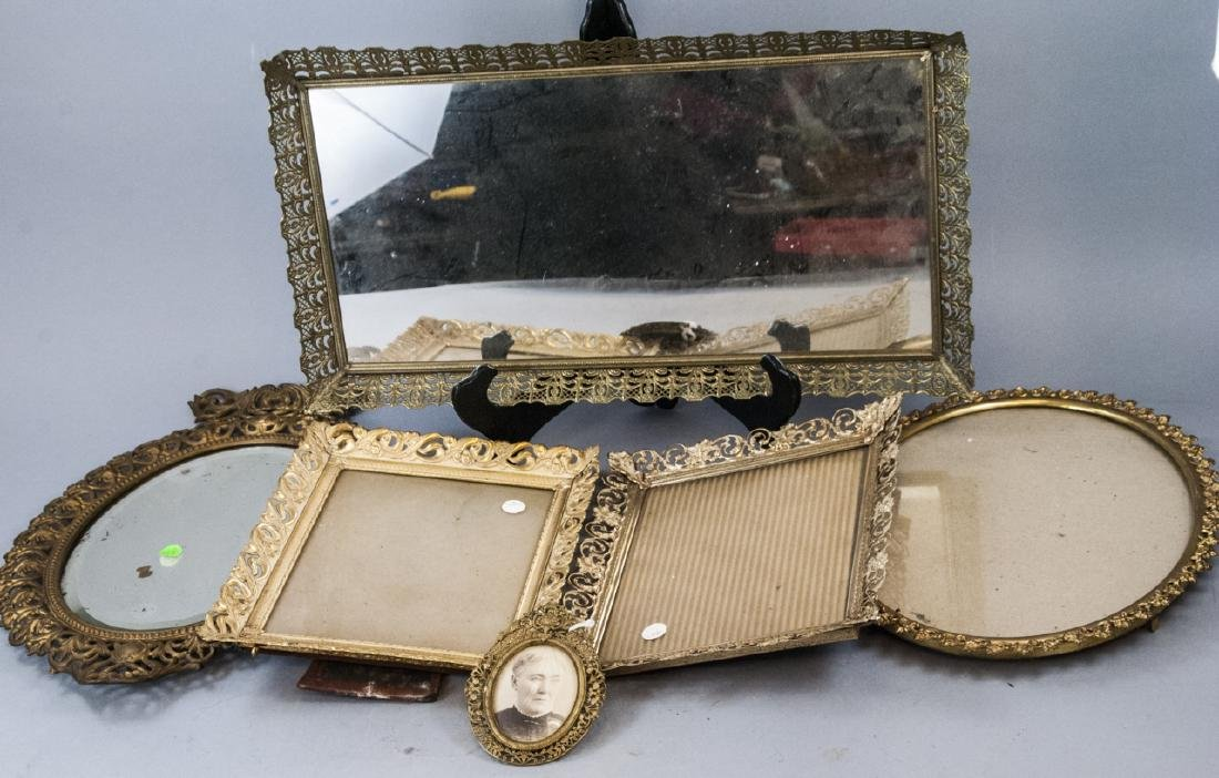 Antique Gold Tone Lace Filigree Trays & Frames