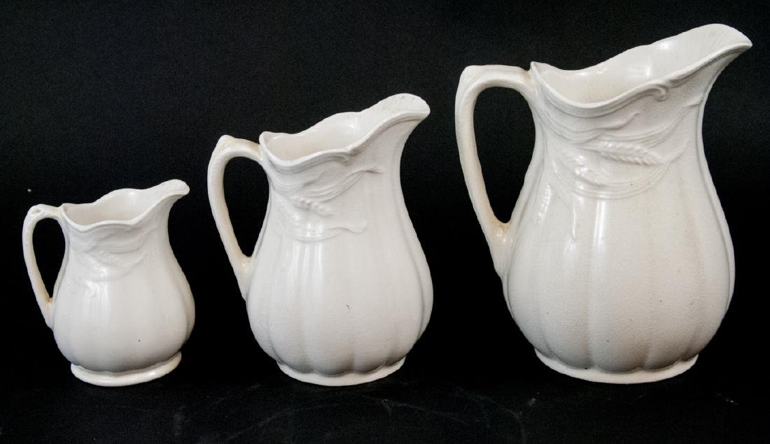 Antique Matching Staffordshire Ironstone Pitchers