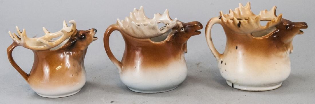 3 Vintage Austrian Figural Moose Creamer Pitchers