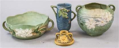 Four Pieces Vintage Roseville Art Pottery
