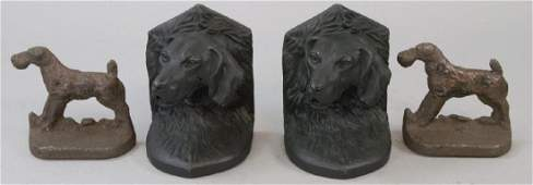 Two Pairs Of Vintage  Antique Dog Bookends