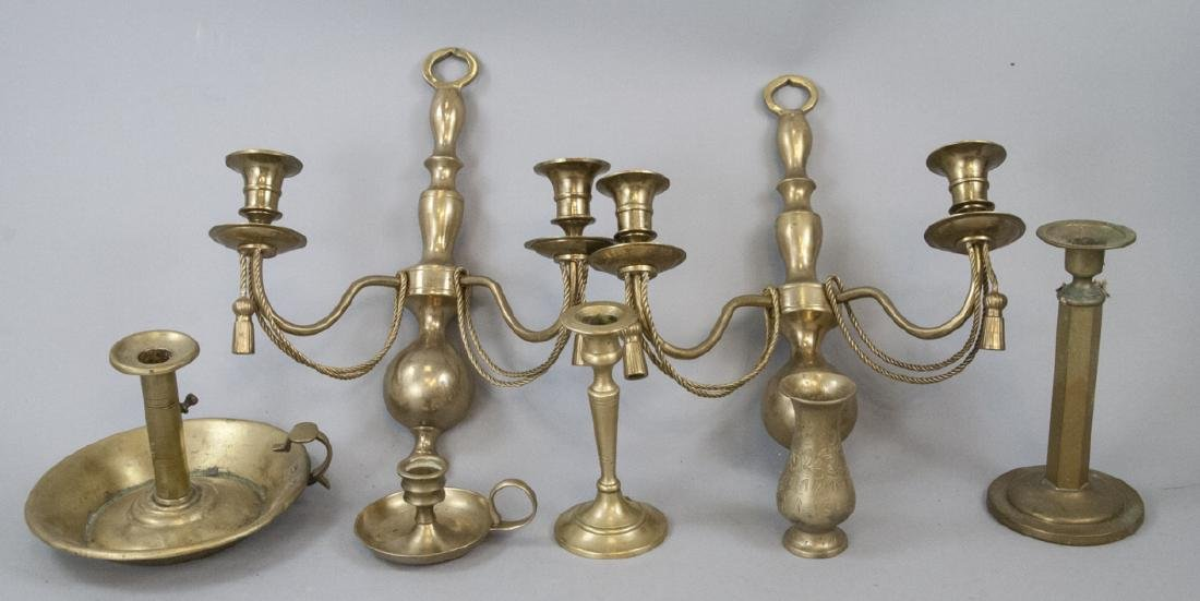 Assorted Lot Of Vintage Brass Candlestick Holders