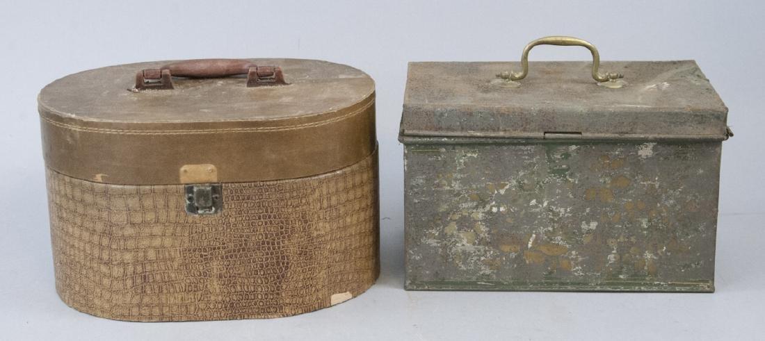 Antique Tin & Leather Storage Boxes