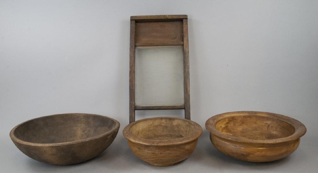 Vintage Primitive Wooden Dough Bowls & Washboard