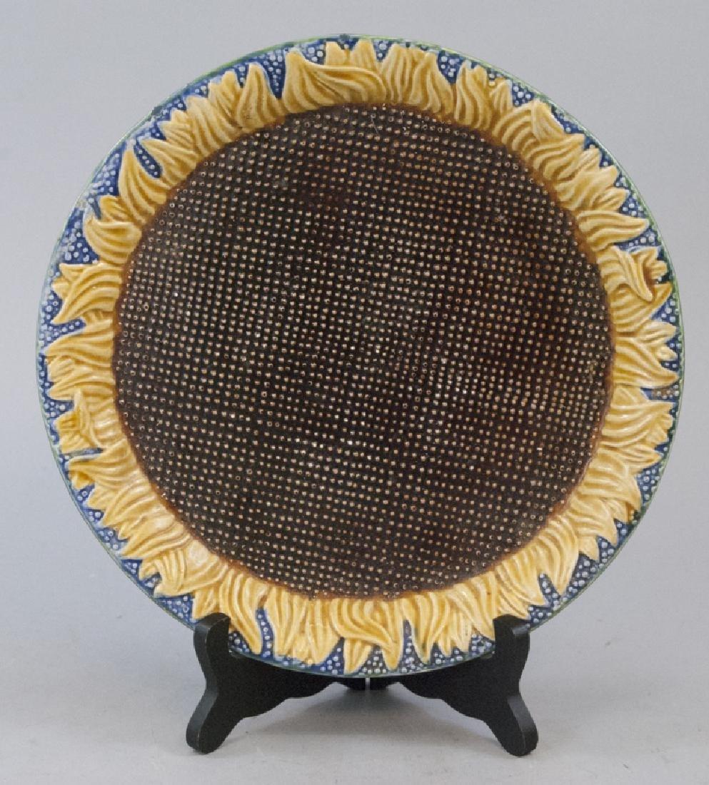 Vintage Majolica Sunflower Serving Platter
