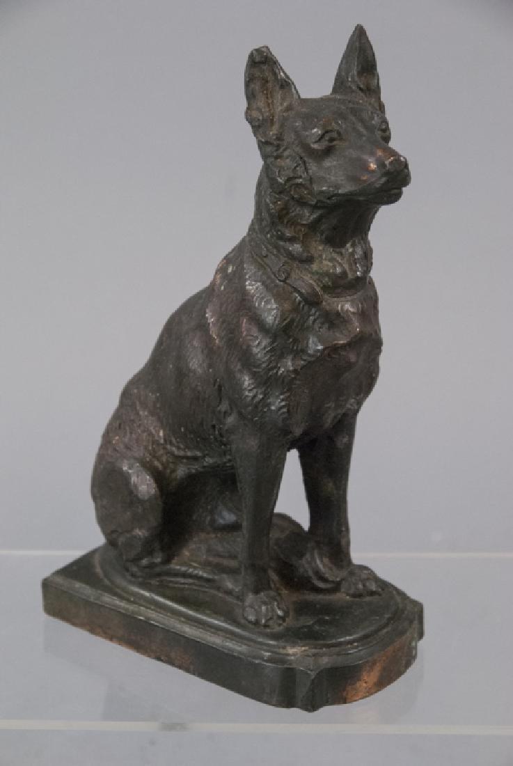 Vintage Bronze Statue of German Shepard