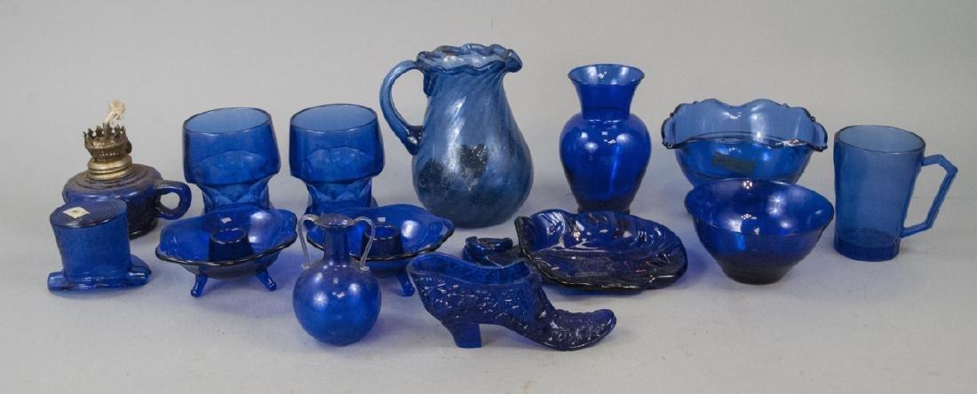 Assorted Lot Of Vintage Cobalt Glass Items
