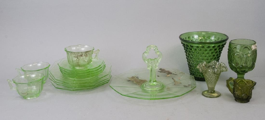 Vintage & Antique Opalescent Green Glass Items
