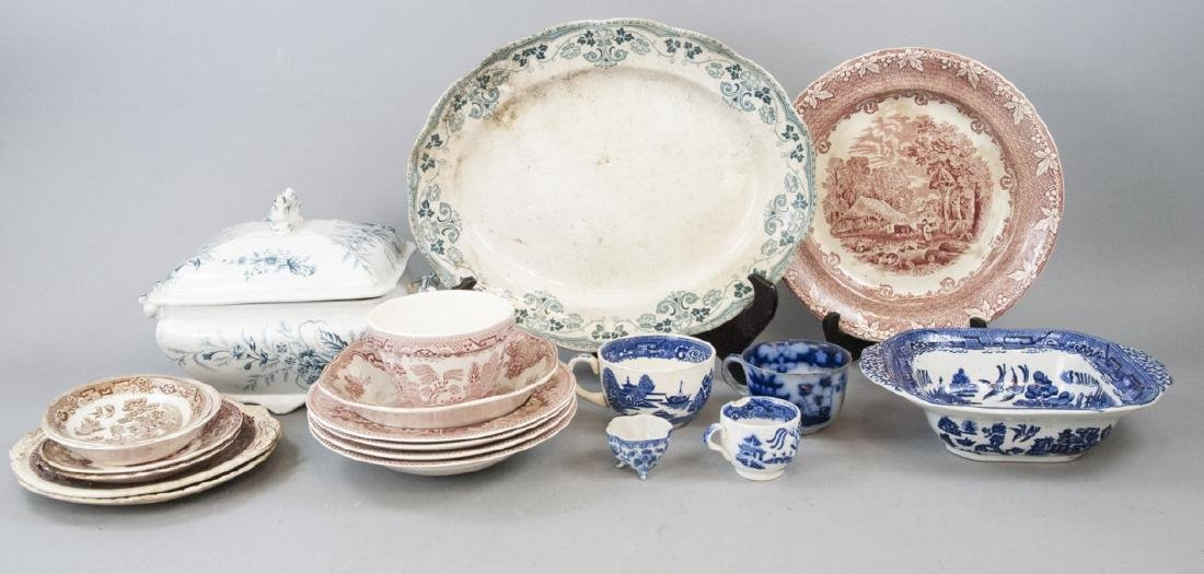 Lot  Antique Transfer Ware, Willow Ware & Tureen