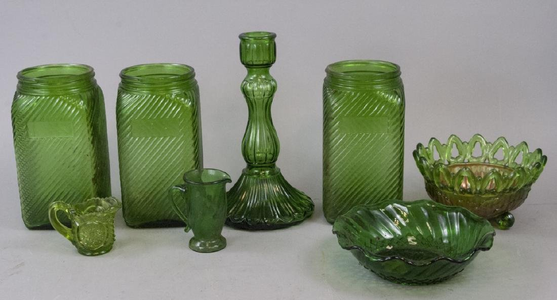Vintage & Antique Green Opalescent Scalloped Glass