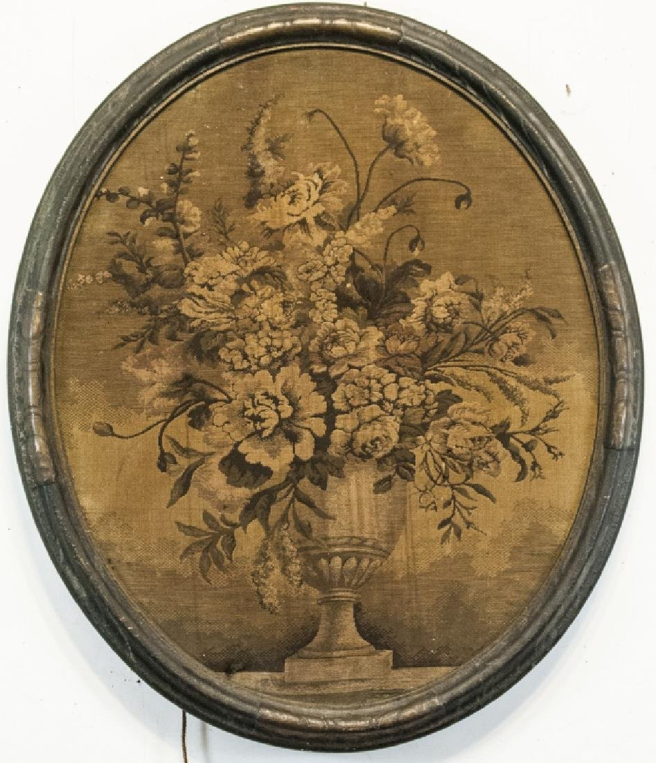 Antique Framed Tapestry of Urn with Flowers